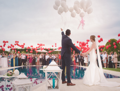 outdoor wedding party at the pool
