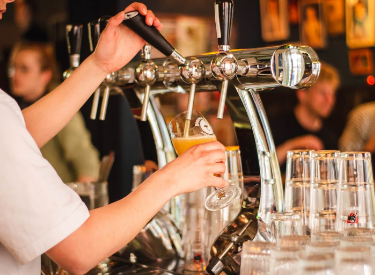 beer on tap in bar