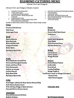 Ridge view diamond catering menu thumbnail