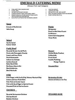 Ridge view emerald catering menu thumbnail