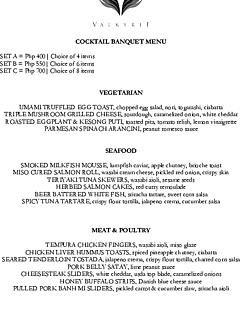 Valkyrie cocktail banquet menu thumbnail