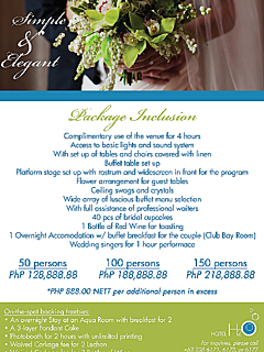 Hotel h2o simple and elegant wedding package thumbnail
