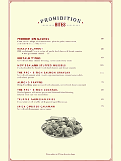 Prohibition food menu thumbnail