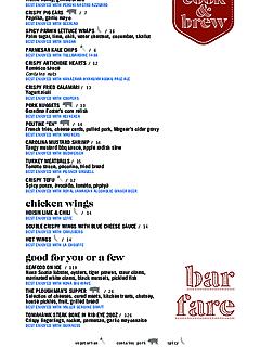 Bar fare menu thumbnail