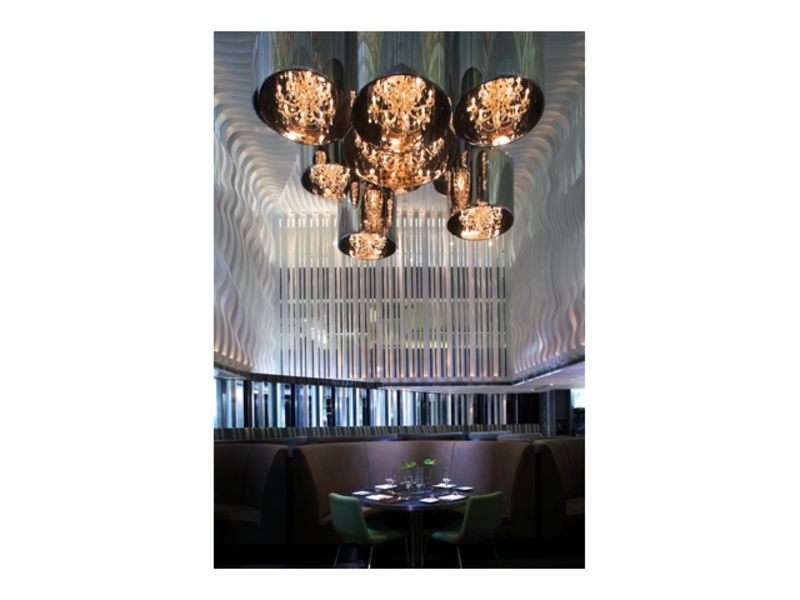 business luncheon area with big chandelier on the ceiling