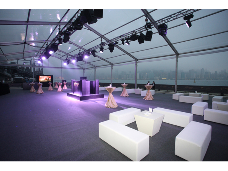 multifunctional event space for product launch event and floor to roof glass window