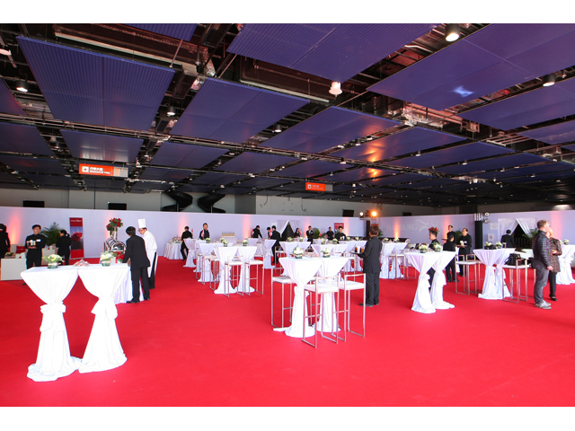 standing party setup for corporate event equipped with red carpet inside the function hall
