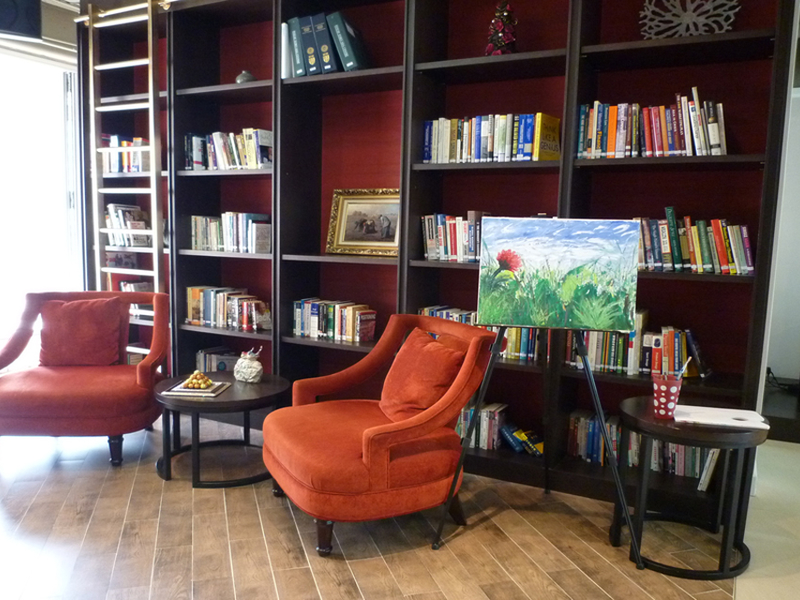 comfy chairs with bookshleves in backgorund
