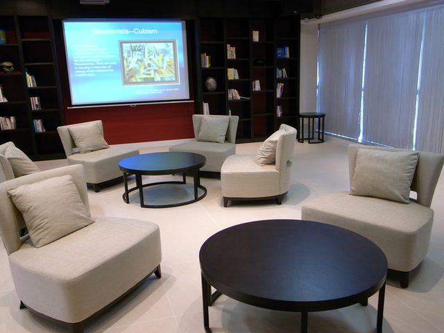 lounge area with projector screen