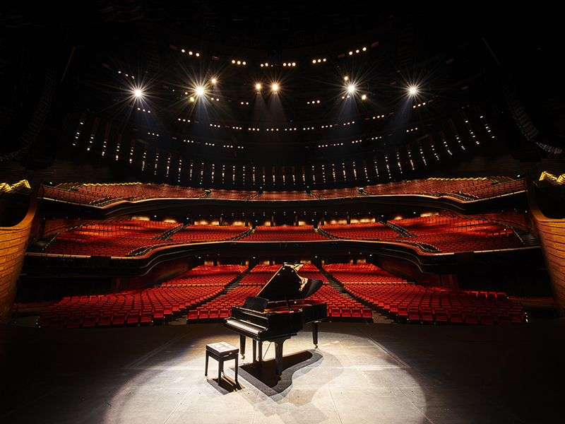 classical concert hall in singapore with grand piano