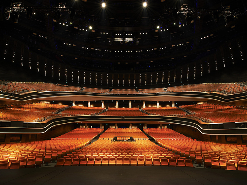 indoor concert venue in singapore with raised seating and high ceiling