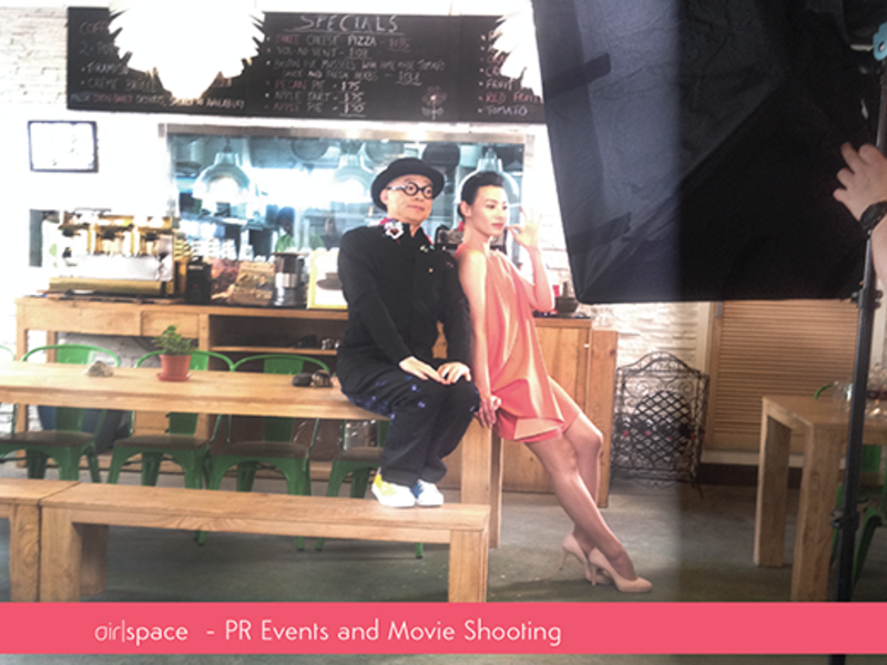 pr events and movie shooting performed by one man and one woman