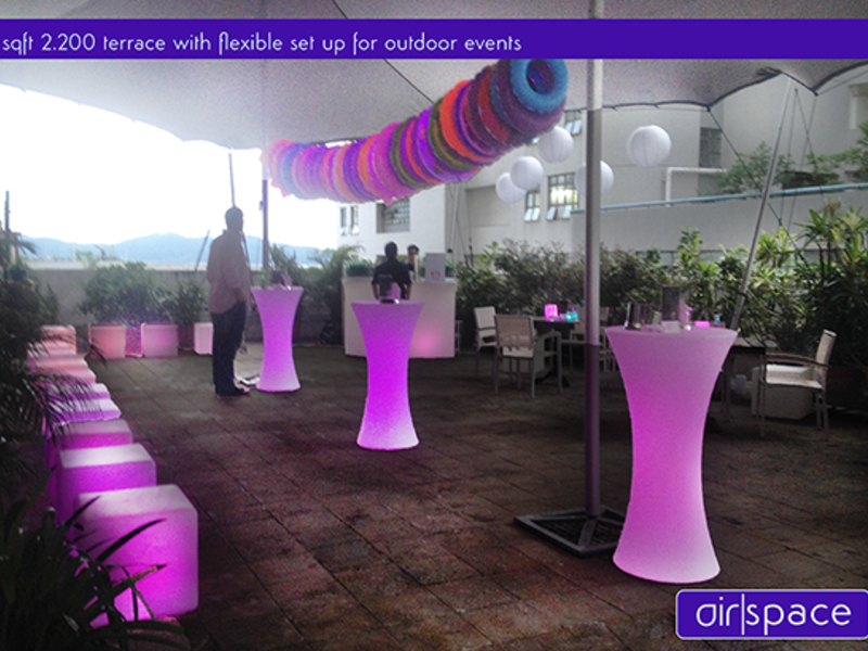 standing party setup at the rooftop outdoor area