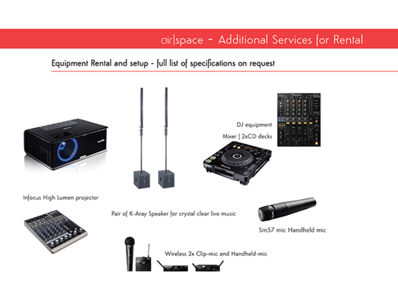 audio-visual equipments rental list for conference or seminar event