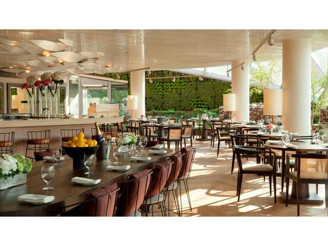 elegant open restaurant interior with high ceiling