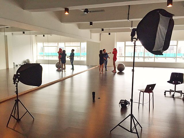 dance studio with mirror and lighting equipments