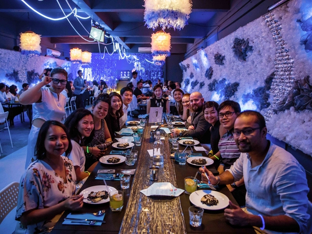 dinner event together with team of the company