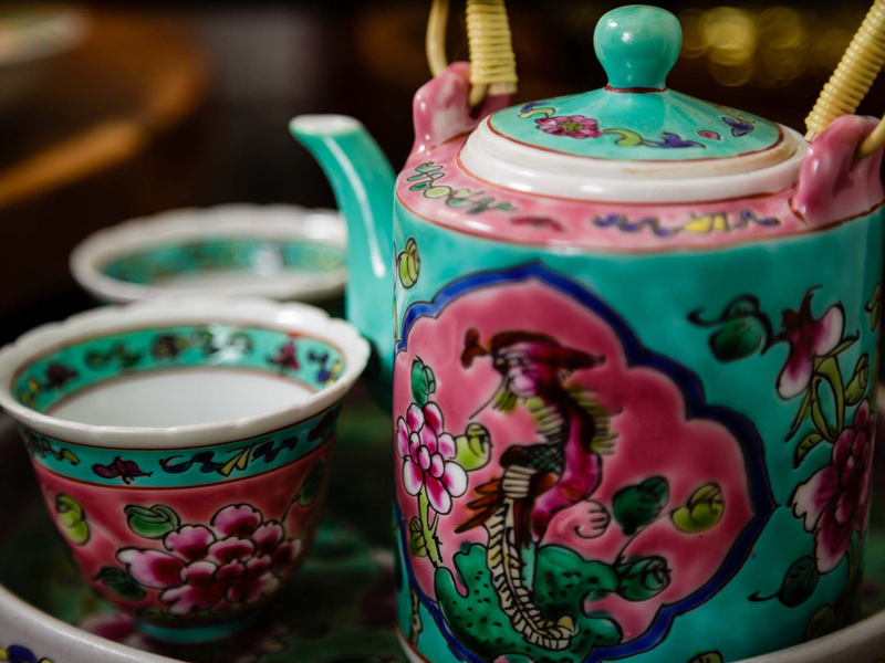 peranakan chinese tea pot and the cups