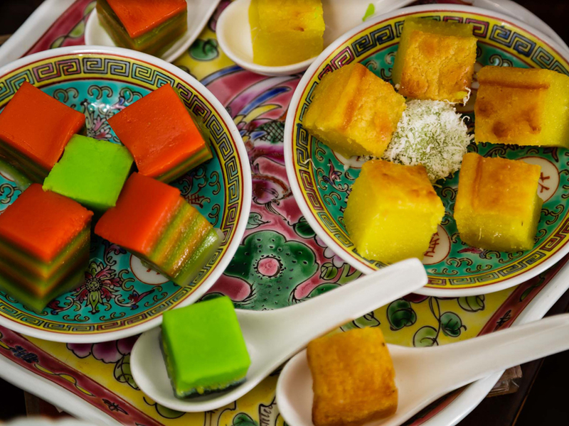 bika ambon and layer cake served on the plates
