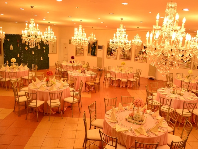 tastefully decorated ballrooms with crystal chandeliers