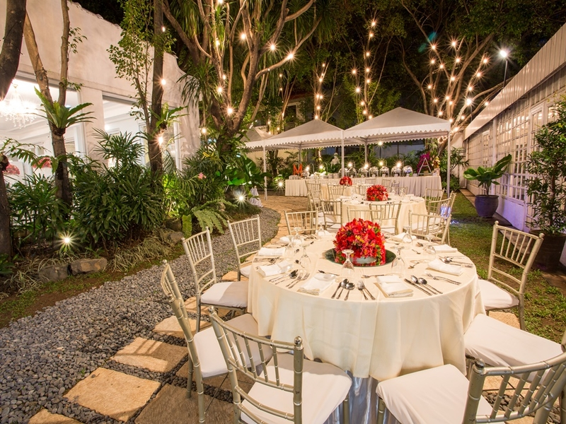 outdoor wedding party with buffet line setup and lights around the tree