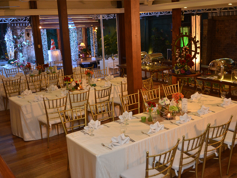 indoor wedding reception with sit down table for dinner