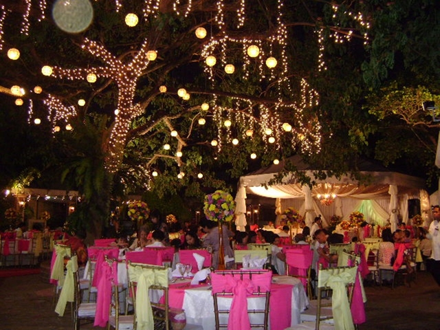 outdoor wedding tables beneath tree decorated with fairylights