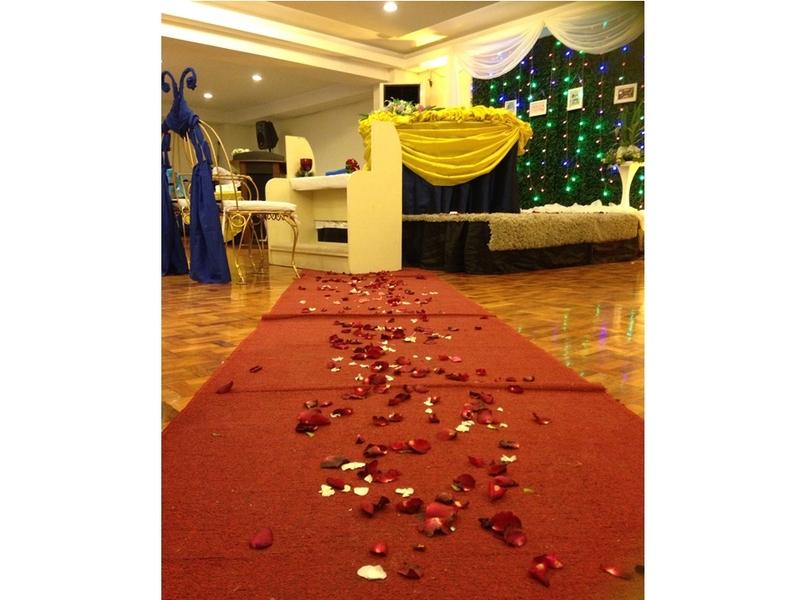 red carpet with rose petals
