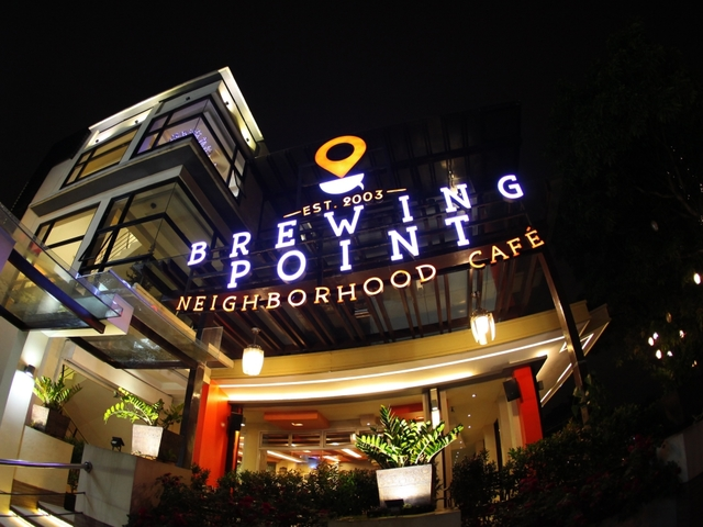the exterior building of brewing point neighborhood cafe