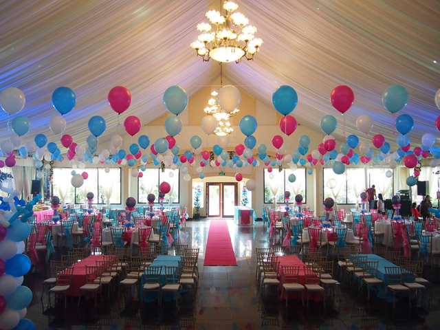 birthday party and balloons set up