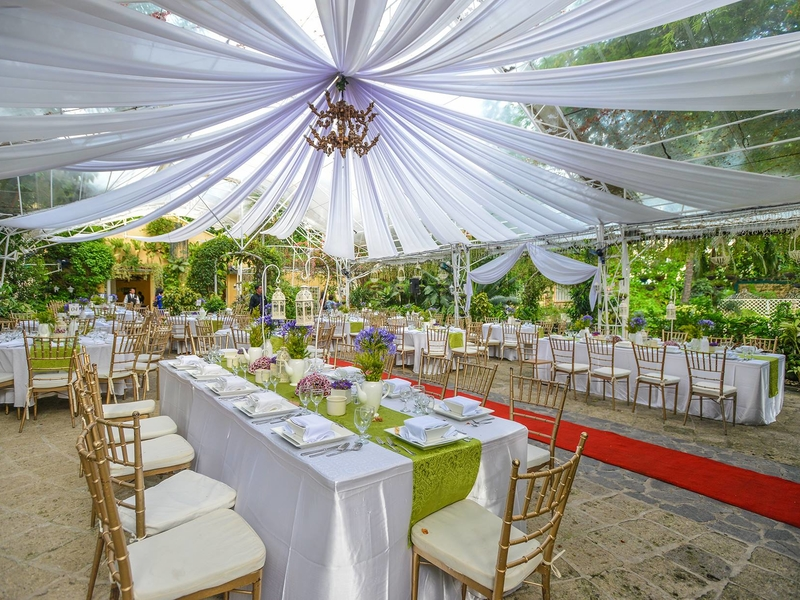 rustic wedding party at the outdoor area of blue gardens