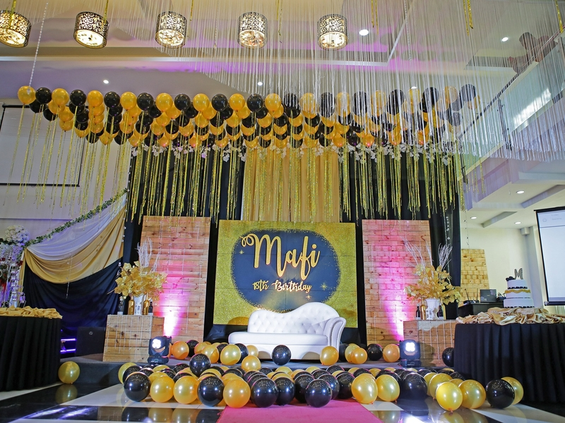 18 th debut birthday party using black and gold theme
