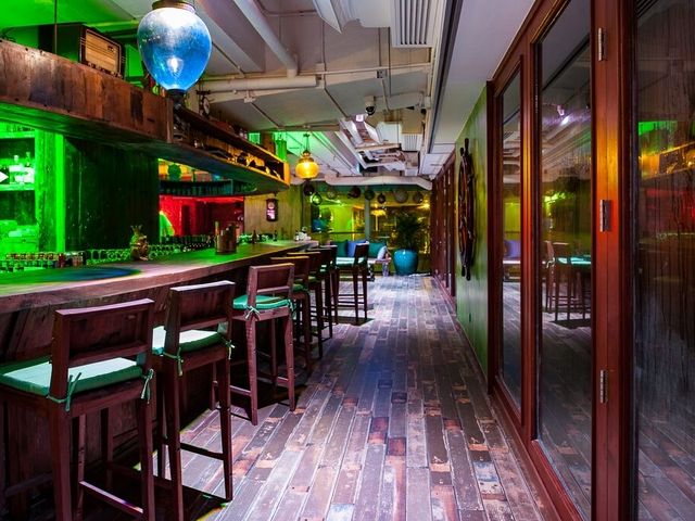 bowling bar area using bar stool chair