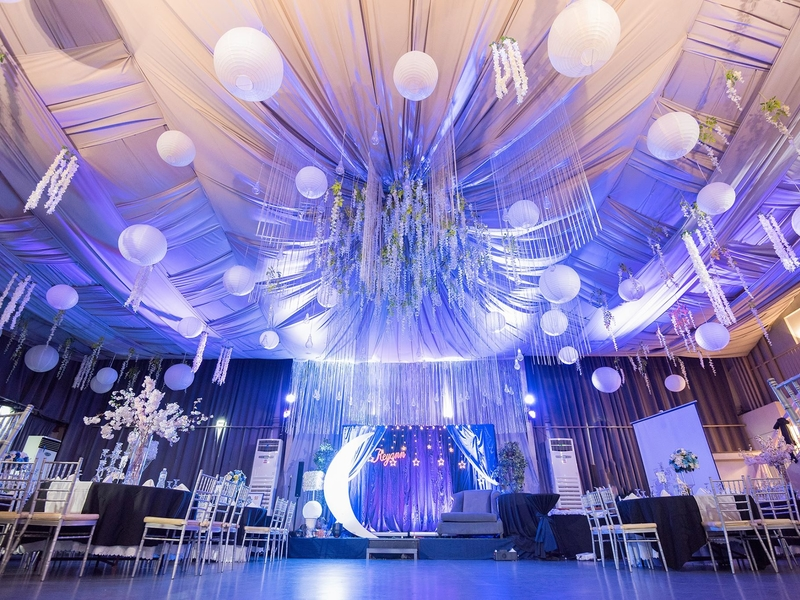 multifunctional event space with banquet style setup