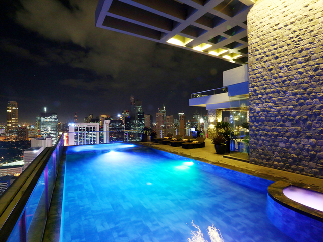rooftop swimming pool with panoramic city view