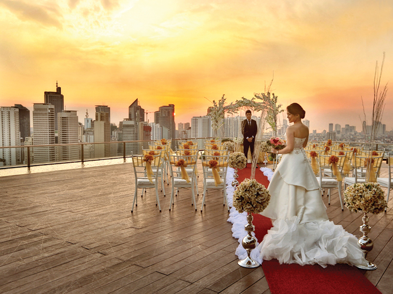 wedding solemnisation at the rooftop area