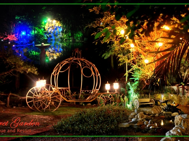 round carriage in garden decorated with lights