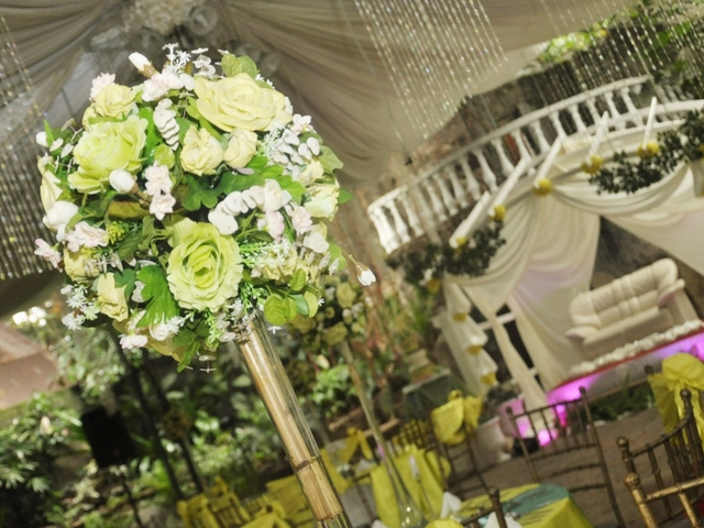 flower piece at wedding hall