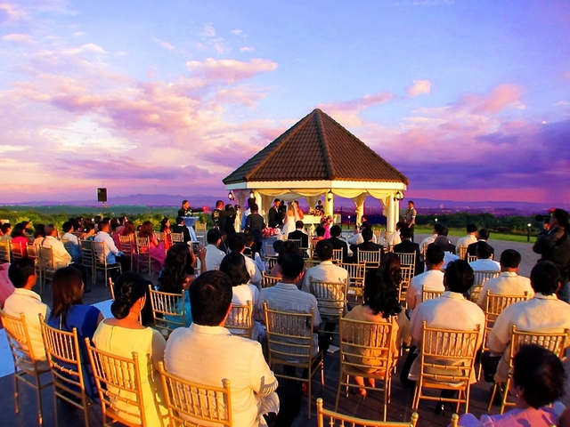people attending wedding event at large garden venue in davao philippines