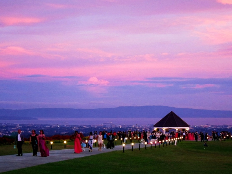 philippines outdoor fashion show venue with sunset view
