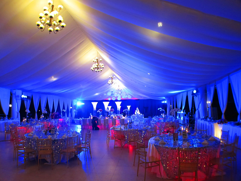 50th birthday venue in philippines with banquet seating and blue lights