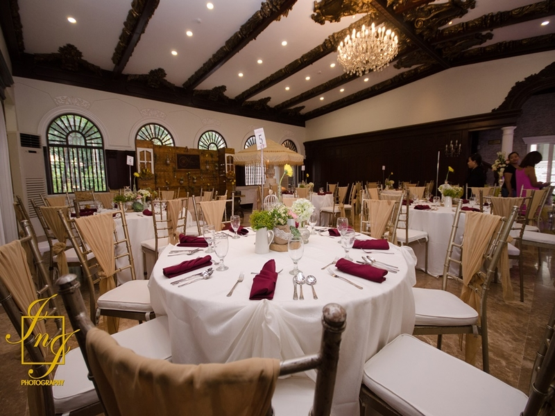 indoor ballroom with banquet style
