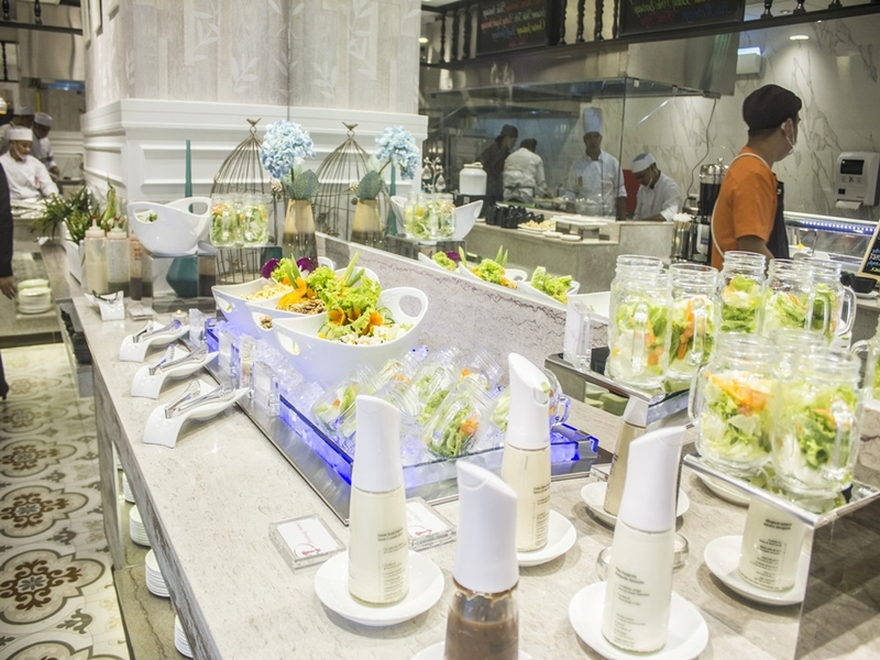 salad and vegetables buffet area