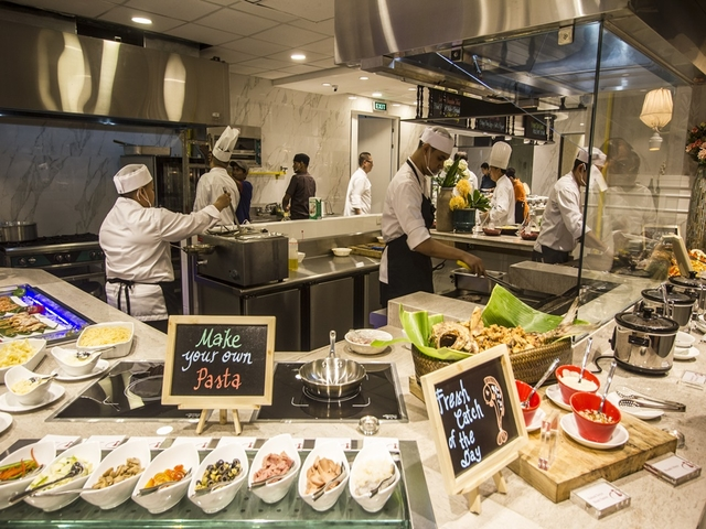 pasta and italian food buffet area