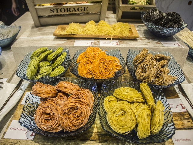 different types of dry noodles served on the table