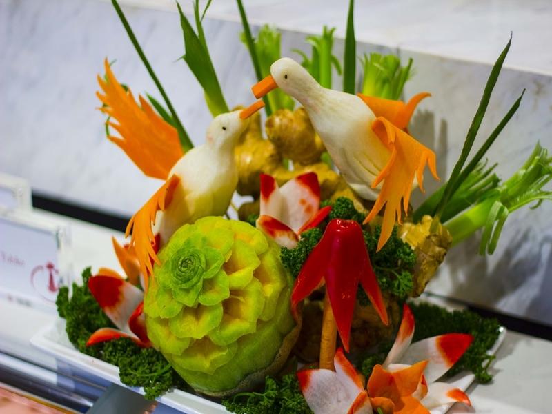 beautiful salads with 2 birds as the garnish