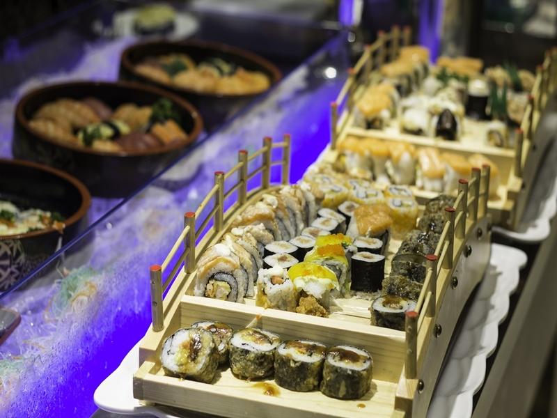 sushi platter at buffet station