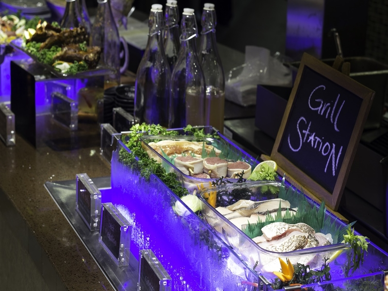 buffet grill station with fresh seafood