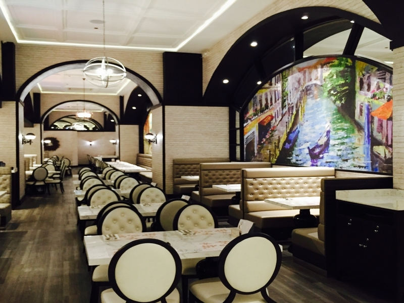 black and white halloween event space in makati with high ceiling and wall painting