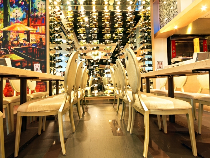 philippines bachelor party venue with wine storage and white interior